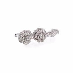Borgioni  - Garden Rose & Leaf Diamond Double-Finger Ring