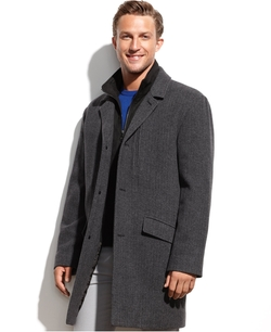 Marc New York - Contrast-Bib Herringbone Walking Coat