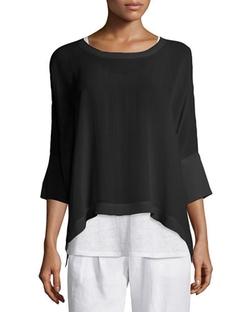 Eileen Fisher  - Sleeve Sheer Silk Top