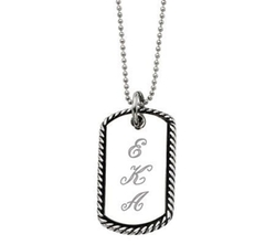 QVC - Stainless Steel Oxidized Engravable Pendant