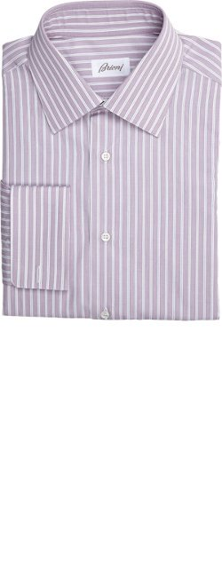 Brioni  - Shadow-Stripe French-Cuff Shirt