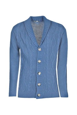 Boohooman Blue - Shawl Neck Cardigan
