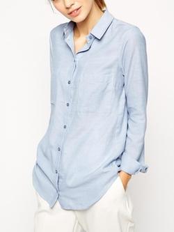 Romwe - Blue Button Boyfriend Shirt