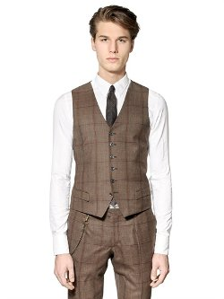 Royal Hem  - Prince Of Wales Stretch Wool Vest
