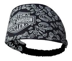Harley-Davidson  - Womens Scrunchie Bar & Shield Paisley Black Headband