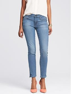 Banana Republic - Light Wash Skinny Ankle Zip Jeans