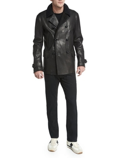 Tom Ford - Vintage-Inspired Double-Breasted Leather Peacoat