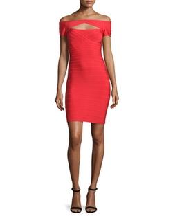 Herve Leger - Off-The-Shoulder Cutout Dress