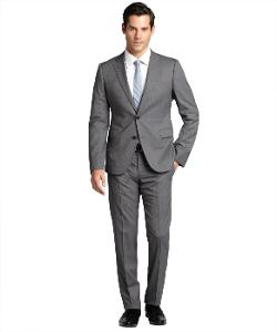 Armani Collezioni  - Striped Wool 2-Button Suit With Flat Front Pants