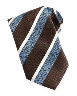 Ermenegildo Zegna  - Wide-Crosshatch Striped Tie