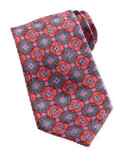 Ermenegildo Zegna  - Geometric-Floral Silk Tie