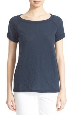 Vince  - Scoop Neck Cotton Slub T-Shirt