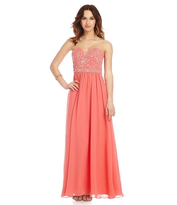 B. Darlin - Scroll Beaded Bodice Gown