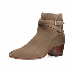 Saint Laurent - Blake Suede Ankle-Wrap Booties