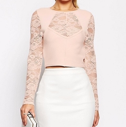 Asos Collection - Baby Rib Lace Crop Top
