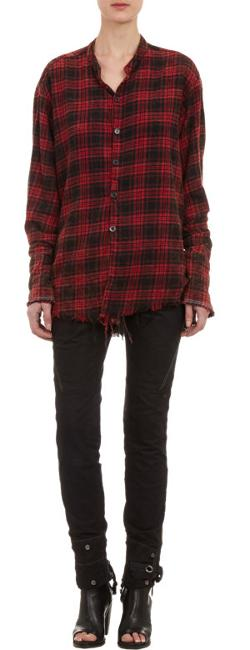 Greg Lauren  - Plaid Flannel Deconstructed Shirt