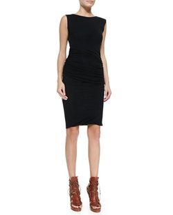 Fuzzi - Ruched Sleeveless Zip-Shoulder Sheath Dress