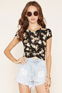 Forever 21 - Floral Twist-Front Crop Top