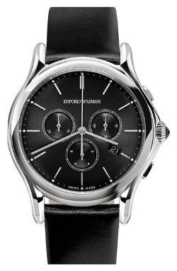 Emporio Armani Swiss Made  - Chronograph Leather Strap Watch