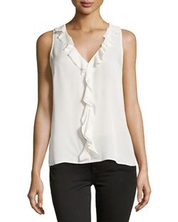 Joie   - Basilla Ruffled Sleeveless Blouse