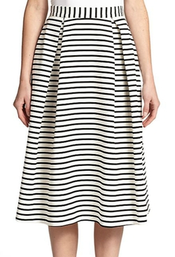 Nicholas  - Striped Ponte A-Line Skirt