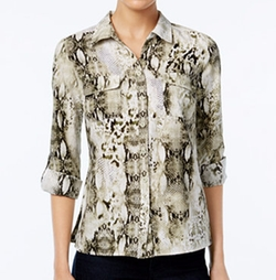 NY Collection - Petite Printed Utility Shirt