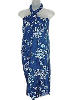 East of Maui Hawaiian Store - Hawaiian Blue With Light Blue Flowers Plus Size Sarong