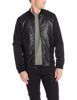 Perry Ellis - Faux-Leather & Nylon Bomber Jacket