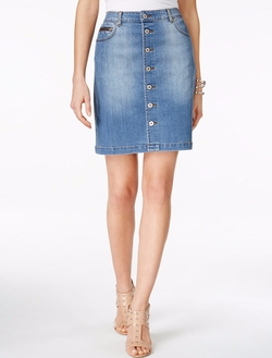 INC International Concepts - Button-Front Denim Skirt