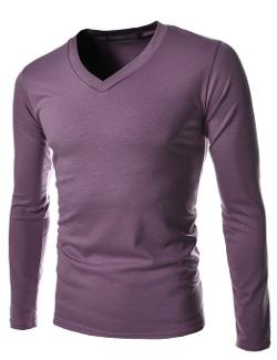 TheLees - Mens Casual Long Sleeve Basic Slim V-neck Tshirts