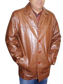 Bonus   - Leather Button Closure Coat Jacket