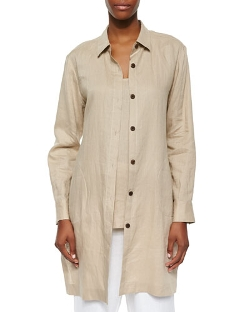 Go Silk - Long-Sleeve Linen Duster Coat