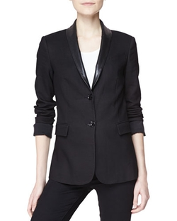 Burberry Brit - Tailored Two-Button Jacket With Leather Collar