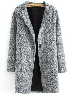 Romwe - Single Button Tweed Coat