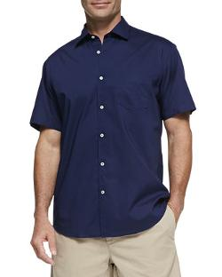 Neiman Marcus - Solid Woven Short-Sleeve Shirt, Navy