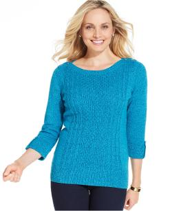 Karen Scott  - Three-Quarter-Sleeve Cable-Knit Sweater