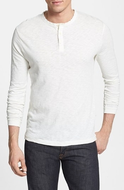 French Connection  - Long Sleeve Slub Cotton Henley Shirt