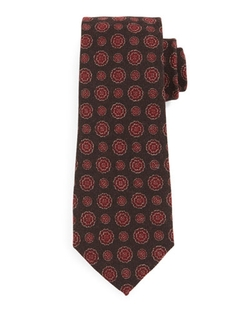 Isaia   - Textured Circle-Medallion Silk Tie