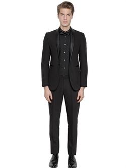 The Suits - Leather Lapels Stretch Suit