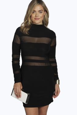Boohoo Plus - Plus Lauren Sheer Panel Bodycon Dress