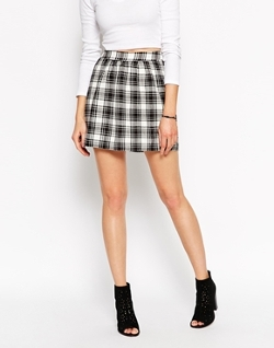 Noisy May - Plaid Checked Mini Skirt