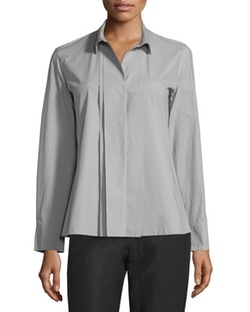 Donna Karan - Pleated-Front Tailored Shirt