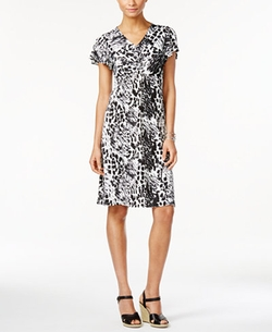 NY Collection  - Printed Twist-Front Dress