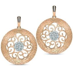 Carat Lane - Rose Gold Filigree Disc Drop Earrings
