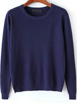 Romwe - Long Sleeve Navy Sweater
