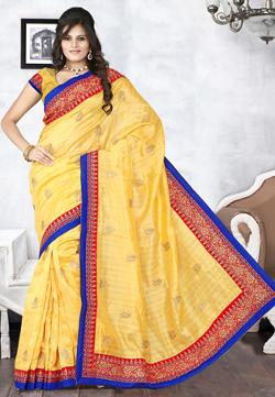 Utsav Fashion - Yellow Art Bhagalpuri Silk Saree with Blouse