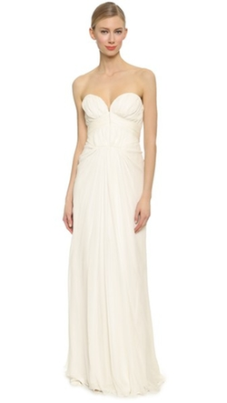 J. Mendel - Strapless Pleated Gown