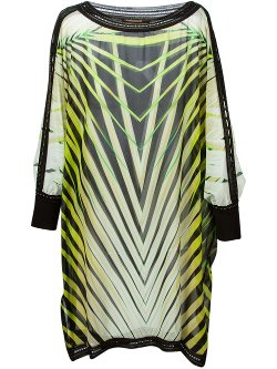Roberto Cavalli  - Leaves Print Sheer Dress