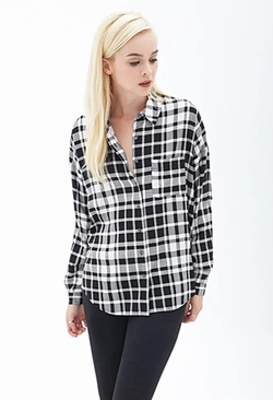 Forever 21 - Oversized Windowpane Shirt