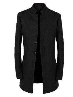 Givemefive-Men Clothes - Stand Up Collar Pea Coat